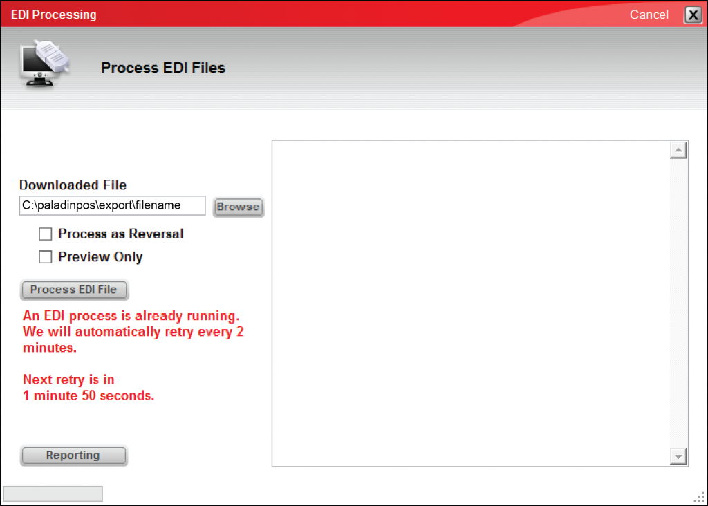 EDI Processing screen with message that an EDI process is already running