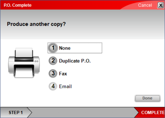 PO Complete receipt options use number keys