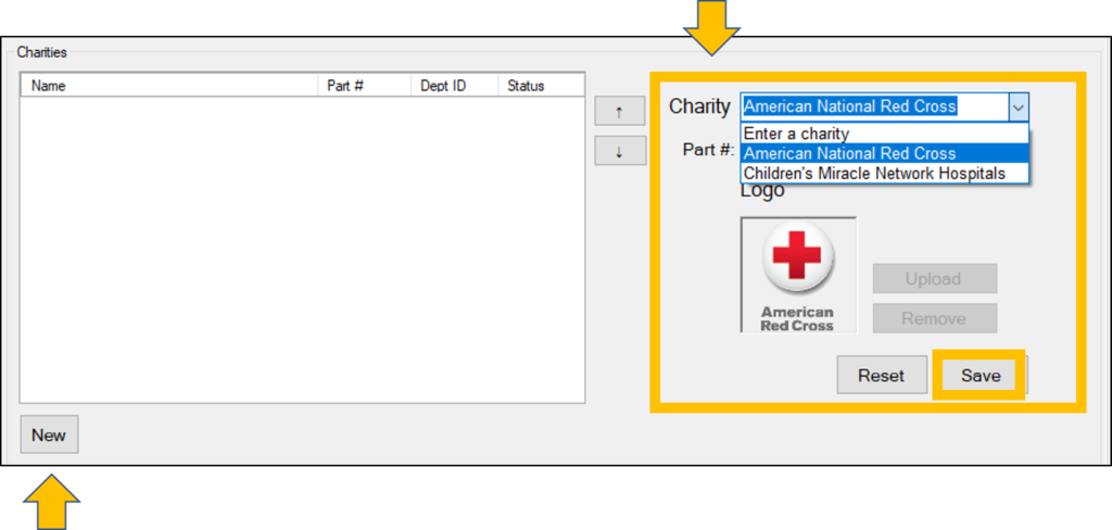 add pre-defined charity